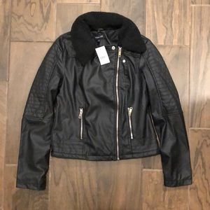 New Look Leather Bomber Jacket